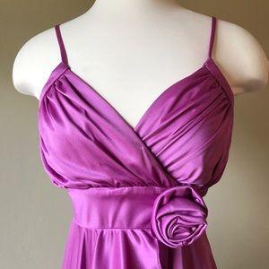 Vintage Lilac Purple V Neck Maxi Semi Formal Dress